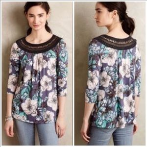 Anthropologie Meadow Rue floral boat neck top